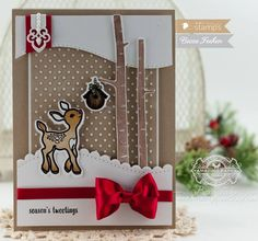 Cute Christmas deer, birch and cardinal stamps from Waltzingmouse stamps