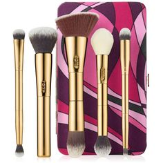Tarte Brush Set and Magnetic Palette featuring polyvore beauty products makeup no color make up purse cosmetic bags travel toiletry case travel bag wash bag