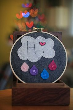 colorful raincloud felt embroidery hoop art.