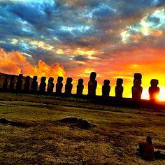 Sentinels at Sunrise - Easter Island, Chile Easter Island, Monument Valley, Chile, Sunrise, Nature, Travel, Naturaleza, Viajes, Destinations