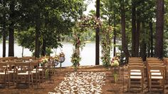 An intimate lakeside venue perfect for wedding ceremonies and rustic dinner receptions.