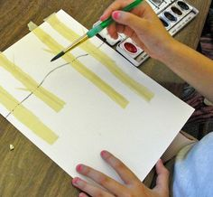 A birch tree art project for older kids that teaches multiple watercolor art technqiues. Perfect for elementary kids in fifth and sixth grade.