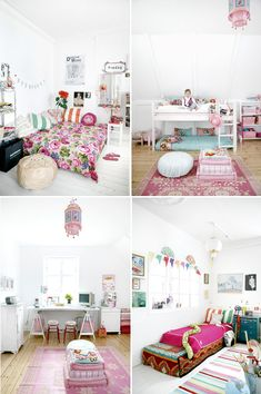 My girl wants a white room with lots of bright colors and a chandelier...this would do it