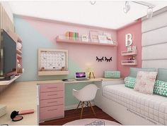 Kinderzimmer Kinderzimmer The post Kinderzimmer appeared first on Slaapkamer ideeën. Dream Rooms, Dream Bedroom, Girl Bedroom Designs, Teenage Room Designs, Teen Girl Bedrooms, Modern Teen Bedrooms, Girl Rooms, Trendy Bedroom, Teen Bedroom Colors