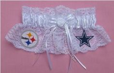 """ewww to who is on this... but cute Idea... another one that I saw had the garter on a white mini-football with the words """"you're the next"""" on it...way cool!"""