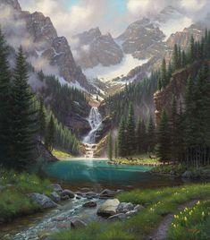 Lake Solitude by Mark Keathley ~ mountains alpine lake waterfall