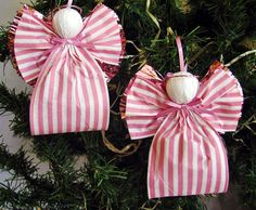 Angel Christmas Ornaments Pink and White Plaid Paper Ribbon