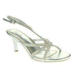 29f63c62138745 Frau Damen Glitzernd Strasssteine Akzent Riemen Hohe Absatz Abend Party  Hochzeit Prom Braut Diamant Silber Sandalen Schuhe Größe 36 - Sandalen für  frauen ...