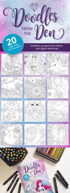 Doodles from The Den, illustrated by coloring book artist Kim White, is an adult coloring book that's full of 20 cute and quirky colouring pages. From mermaids, to narwhals, to fairies and adorable animals...there is something to suit every colorists appetite. The book is printed single sided, on luxurious 170gsm paper, with a 350gsm soft touch lamination cover. Available as both a paperback and digital download, it's suitable for both traditional and digital coloring. #adultcoloringbook