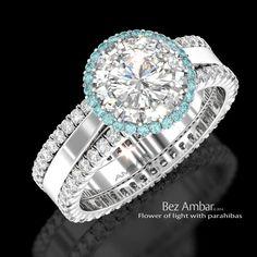 Bez Ambar's Flower of Light engagement ring with Blaze® cut diamonds parahibas #blazecutdiamonds #diamondjewelry www.bezambar.com