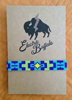 Royal and Lime Aztec Beaded Bracelet by ShopElectricBuffalo