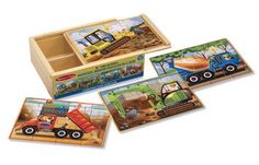 Set includes four wooden 12-piece construction vehicle jigsaw puzzles-- a cement mixer a bulldozer a dump truck and an excavator-- each stored in a separate compartment of a sturdy wooden box! The...