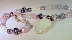 Murano Glass Necklace &  Earring  Blue Venetian Pink by JVZJEWELRY, $60.00