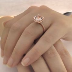 Beautiful cushion cut natural pink peach morganite halo engagement ring that is very comfortable to be worn daily and was designed with a lot of thought and love. This would be the perfect ring for proposal or a gift for your beloved. CENTER MORGANITE INFO: The morganite has Not been