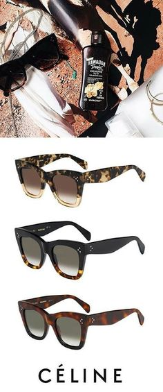 The perfect summer accessory! Celine Cathrine sunglasses with tortoise colors, cat-eye shape, and bold frames. Get the Celine sunnies at http://www.smartbuyglasses.com/designer-sunglasses/Celine/Celine-CL-41090/S-Catherine-FU5/Z3-270900.html