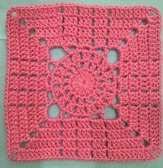 Quadrados de crochê Motifs Granny Square, Crochet Square Blanket, Crochet Blocks, Granny Square Crochet Pattern, Crochet Squares, Granny Squares, Crochet Motif Patterns, Crochet Designs, Stitch Patterns