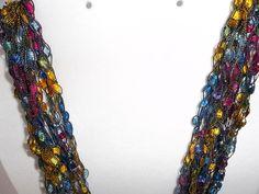 Multi Color Crochet Ladder Lace Necklace Trellis Ribbon Lace Fiber Yarn Multi Color by DelsYarnBasket on Etsy