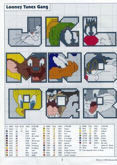 looney tunes alphabets free cross stitch part two