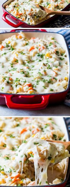 A cross between a CHICKEN pot pie and NOODLE soup, this chicken pot pie noodle CASSEROLE will become your go to recipe when you need comfort food. Easy to follow, hearty and filling!