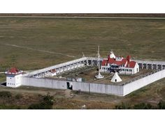 Aerial view of Fort Union Trading Post National Historic Site near Williston.