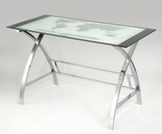 World Map Printing Curved X-Sided Computer Desk - Powell World Map Computer Desk is the perfect addition to any office or work area. Crafted from strong chrome plated metal and durable glass, the top features a beautiful map design while the s