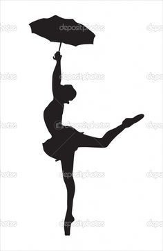 silhouette+ballerina+with+umbrella | Silhouette of the ballerina | Stock Vector © Марина ...