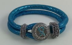 """Sparkle To Your Hearts Content"""" Dazzling Glitter Corded Fabric Wrap Ovarian Cancer Teal Rhinestone Ribbon Snap Bracelet! by SpangleCrystals on Etsy"""