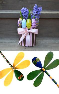 wood crafts and yard decorations made with wooden spoons