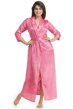 Oriental jaquard Satin over lap robe with matching belt and side pocket www.privatelives.in