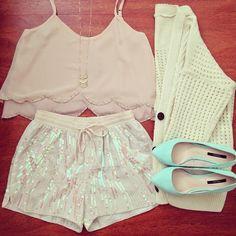 Cardigan from @xohkim @xohkim | www.poison.storenvy.com  Shorts from @iheartshimmer @iheartshimmer | www.iheartshimmer.com  #fashion #lookbook