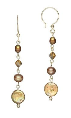 Earrings with Cultured Freshwater Pearl Beads and Swarovski® Crystal Beads