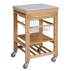 August Grove® Ilana Kitchen Cart with Granite Top
