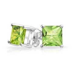Green Simulated Peridot CZ 925 Sterling Silver Princess Cut Stud Earrings 7mm