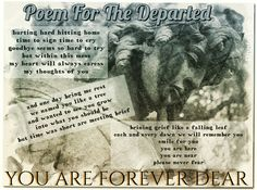Poem for the departed - A short life lyric about loss and death