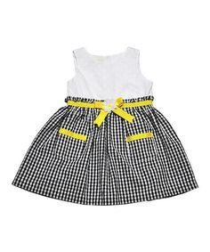 Samara Black & Yellow Bow Dress - Infant & Girls | zulily