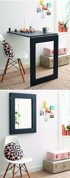 How to Make Mirror Folding Table - DIY Crafts - Handimania. That is actually pretty brilliant. Not that I know how to operate a saw, but still.: