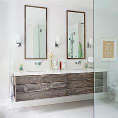 bathroom with reclaimed wood vanity