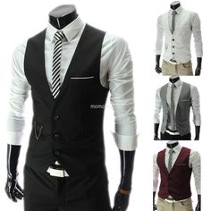 Men Slim Fit Casual Dress Waistcoat Three Buttons V-Neck Vest Business Tops....$9