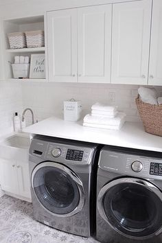 Laundry room with cement floor tile. White Laundry room with cement floor tile… Mudroom Laundry Room, Laundry Room Remodel, Small Laundry Rooms, Laundry Room Organization, Laundry In Bathroom, Garage Laundry, Laundry Baskets, Laundry Area, Laundry Tips