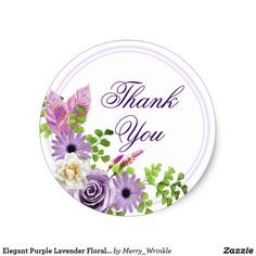 Elegant Purple Lavender Floral Thank You Classic Round Sticker
