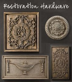 While looking through the new Restoration Hardware catalogue, in the wall decor section, I found these Wall Carvings made from resin, plaster, and metal.  I also found similar pieces at Pottery Barn a