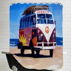 Mercury Row Markus Bleichner Anzalone The Groovy Peace Surf Bus Shower Curtain
