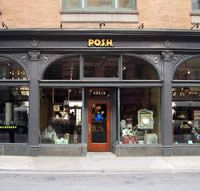 """P.O.S.H. at 613 N. State Street. This store is alot of fun to browse. They carry home & table decor, or in their words: """"an eclectic assortment of vintage Hotel Silver, Restaurant China & Flea Market Finds. Found in such disparate places as old American china warehouses to the antique markets and auction houses of Europe, the items sold at P.O.S.H. are often one-of-a-kind or limited in quantity."""""""