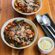 Turkey Italian Sausage, Tomatoes, Cannellini Beans, and Kale turn into a delicious stew in the slow cooker!