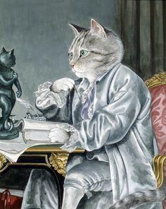 adelina_4 - Кошачьи пародии Сьюзен Херберт. Часть- 8.Jean-Baptiste Greuze. Portrait of Claude-Henri Watelet.