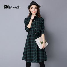 41d4c04f869 Click to Buy    New Autumn Fashion Plaid Literary Large Size Women Shirts.