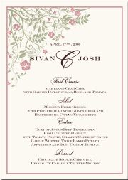 Personalized Formal Wedding Menu Cards