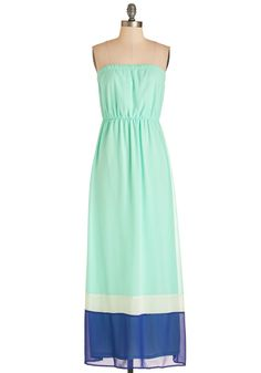 Colorblock My World Dress. Youre not sure which is more enchanting - your seaside view or the graceful comfort of this strapless frock. #mint #modcloth