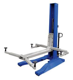 This Updated 6,000 lb. Blue Mobile Single Column Lift works indoors or outdoors and moves easily on any smooth cement surface. Runs on standard 110 vac and p