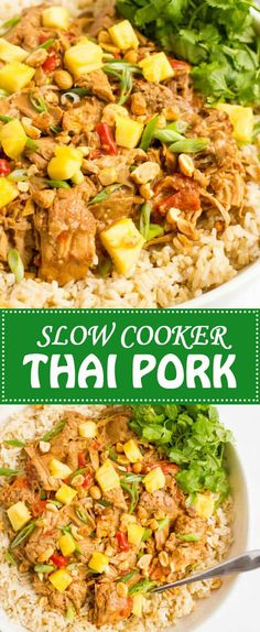 Slow cooker Thai pork is a quick and easy dinner to prep and comes out with tender chunks of pork and a rich, delicious peanut sauce!   www.familyfoodonthetable.com